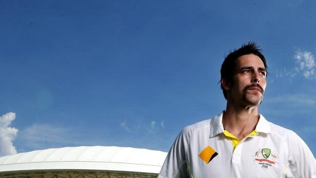 Mitchell Johnson is currently sporting Australia's most famous moustache. Picture: Sarah Reed.