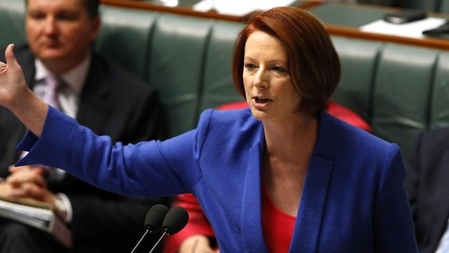 "Prime Minister Julia Gillard said she wouldn't support Tony Abbott's call to have Peter Slipper removed as Speaker and said she would not be lectured on ""sexism and misogyny"" by the Opposition Leader. Picture: Kym Smith"