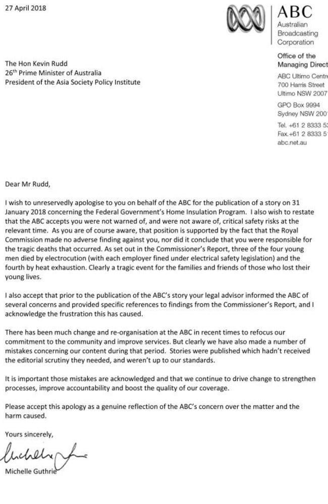 This was the letter sent from Michelle Guthrie to Kevin Rudd.