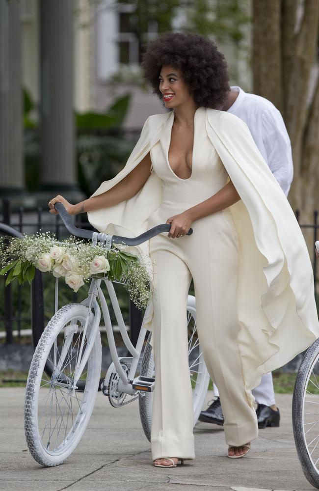 White hot style ... Solange Knowles and Alan Ferguson arrive at their wedding. Picture: Splash
