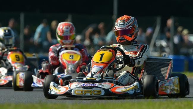 Verstappen on his way to a karting world title last year.