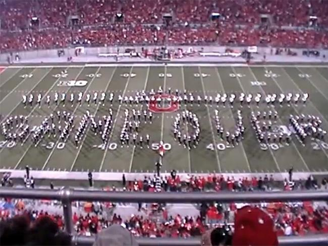 Game Over: after nine minutes, the Ohio State Marching Band get a well-deserved rest. Picture: You Tube
