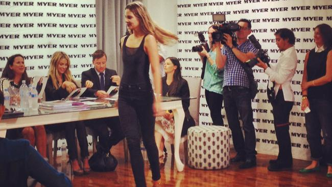 A model hopeful struts her stuff during the casting at Myer in Sydney. Picture: Supplied
