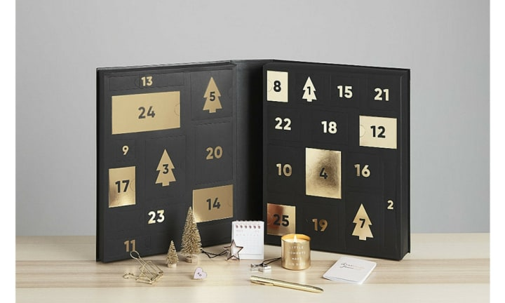 STATIONERY LOVERS: For those who can't get enough stationary, KikkiK has the advent calendar of your dreams. The luxe black and gold calendar is filled with everything from a notepad to a candle and will get you feeling festive. It'll set you back $128 and is available at KikkiK