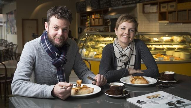 Apothecary chef Natalie Homan with husband Brendan and the calzone she loves at Italian cafe Nano.