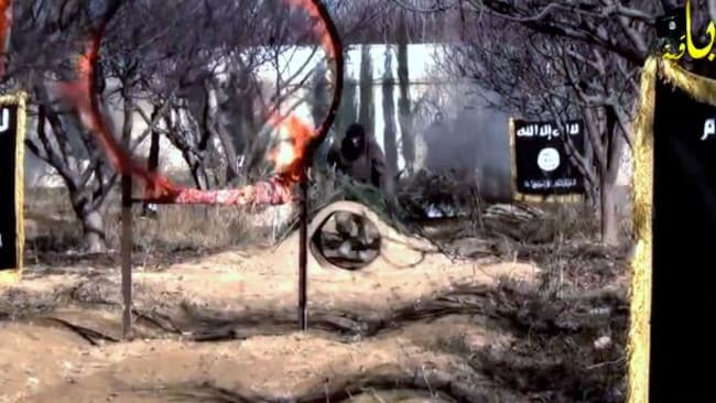Hoops of fire ... Part of the training course attributed to ISIS.