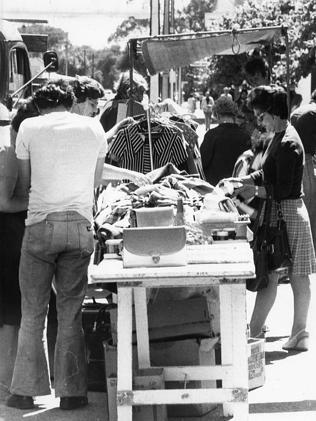 The Saturday morning market in Melbourne Street, North Adelaide in 1976. Yep, everyone wore their jeans flared.