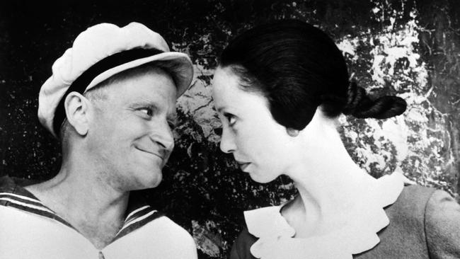 "A still frame obtained in December 1981 from the musical comedy live-action film adaptation ""Popeye"" shows US actor Robin Williams (L) playing Popeye, and US actress Shelley Duvall playing Olive on the set of the film shot in Malta."