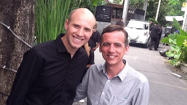 On assignment ... Daniel Sutton with 2UE reporter Derek Peterson outside the Sentosa Resort in Seminyak, Bali. Picture: Facebook