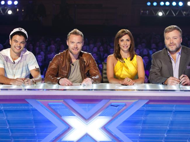The X Factor judges Guy Sebastian, Ronan Keating, Natalie Imbruglia and Kyle Sandilands.