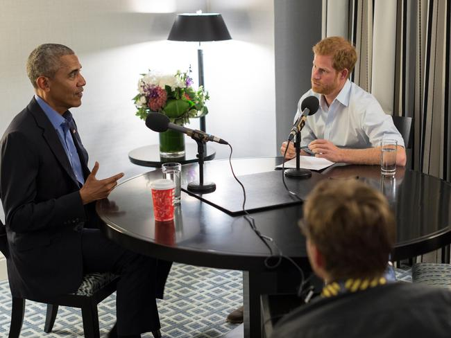 Prince Harry interviews Barack Obama for the BBC. Picture: AFP/the Obama Foundation