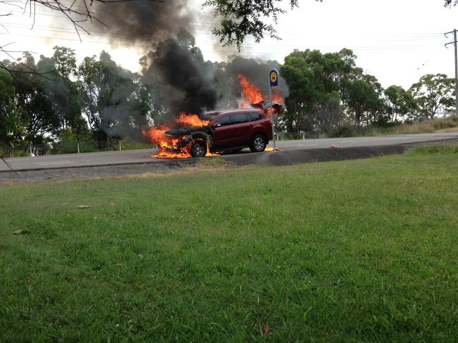 Frightening ... the moment a Ford Everest caught fire while being road tested by CarsGuide journalist Peter Barnwell. Picture: Supplied