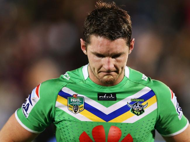 Raiders centre Jarrod Croker is downcast after missing his last-minute penalty attempt.