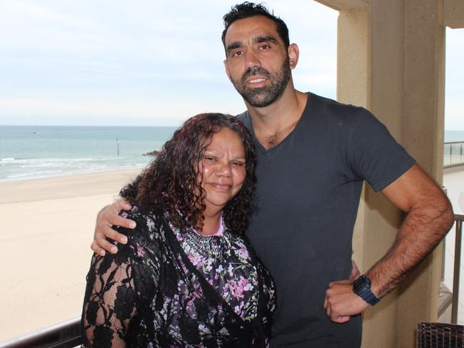 No tears ... Adam Goodes with his mum Lisa Sansbury on Who Do You Think You Are? Picture: SBS