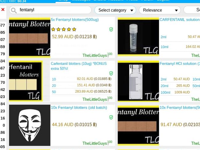 Fentanyl for sale on the dark web via sites that offer shipping to Australia.