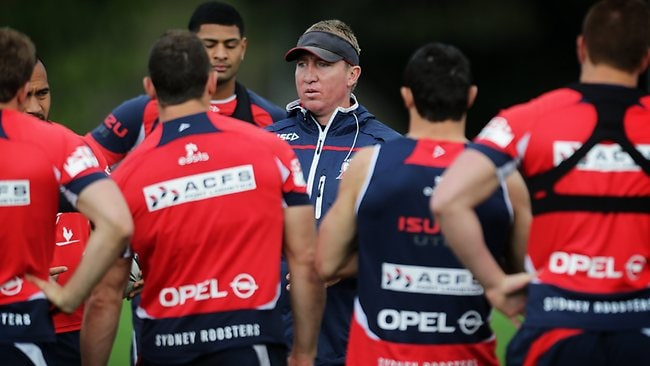 Trent Robinson addresses the players at Roosters training. Picture: Adam Taylor