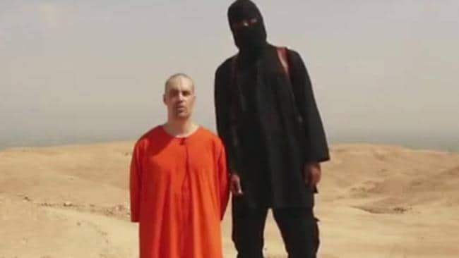 Mr Higgins' website shows how Islamic State videos with scant information, like this one showing US journalist James Foley, can be located using satellite images. Picture: AP Photo, File.