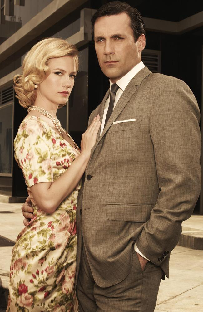 Advertising world in the sixties ... January Jones (who plays Betty Francis) and Jon Hamm (Jon Draper) in a scene from Mad Men.