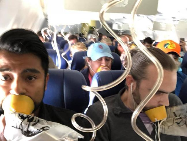 Facebook images from the page of passenger Marty Martinez of scenes when the Southwestern Airlines Boeing 737 engine exploded. Picture: Facebook @Marty Martinez