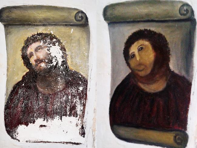 The original Ecce Homo artwork from 1930 by Elías García Martínez on the left, and Cecilia Giménez's globally mocked restoration on the right. Picture: AP Photo/Centro de Estudios Borjanos, File