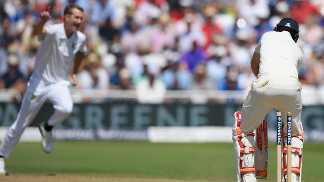 England batsman Joe Root is bowled by South Africa's Chris Morris.