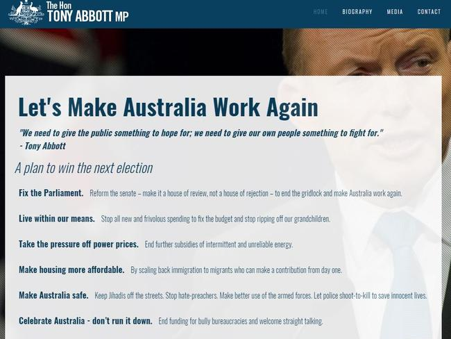 """Tony Abbott has outlined a six point plan to """"make Australia work again""""."""