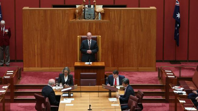 Senate president Stephen Parry will urge the upper house to consider adopting a formal dress code after Pauline Hanson's decision to wear a burqa into the chamber. Picture: Kym Smith