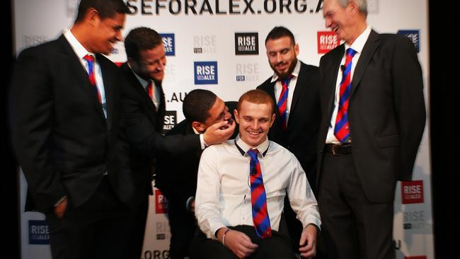 Alex McKinnon shares a joke with Knights teammates and Wayne Bennett. Pic: Phil Hillyard