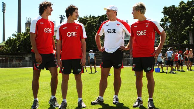 Sydney's 2010 draftees Matt Spangher, Jed Lamb and Luke Parker with coach John Longmire.
