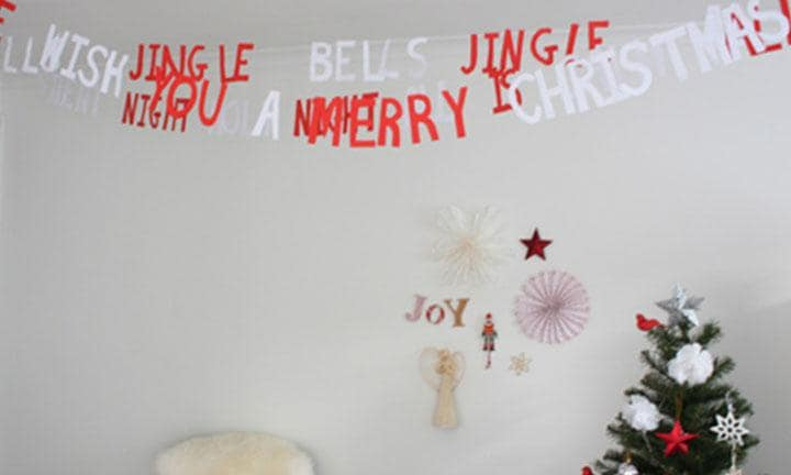 Christmas paper letter garland