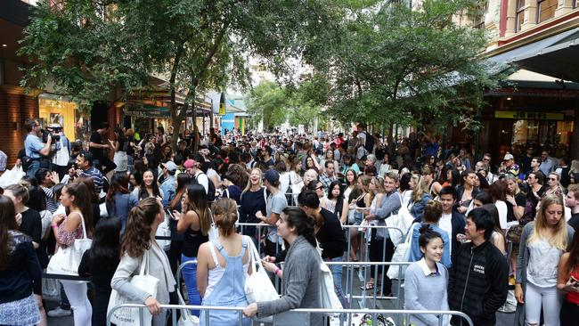 Crowds at the opening of the H & M store in Pitt Street Sydney.