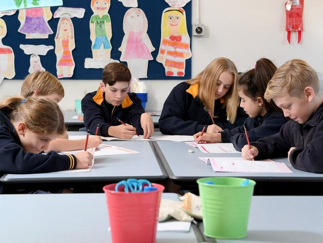 Students preparing for the NAPLAN test. Picture Mark Brake