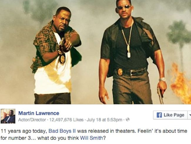 A post on Martin Lawrence's facebook page.