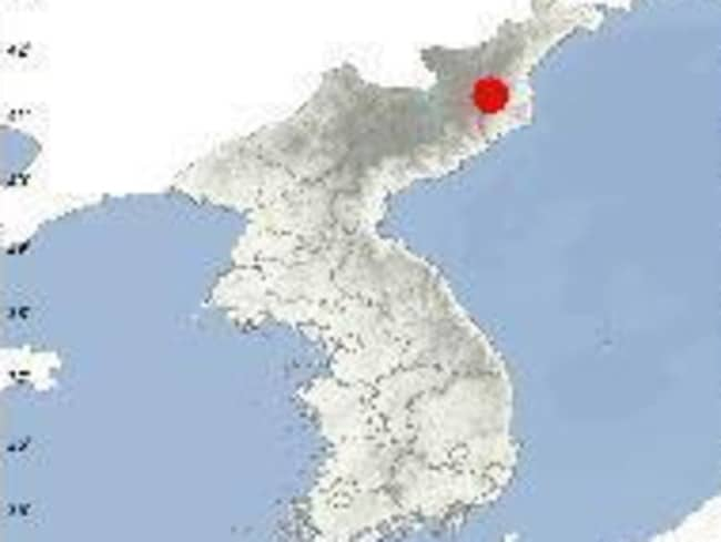 This is a capture from the United States Geological Survey website, which shows the position of Punggye-ri in Kilju, North Hamkyong Province. Picture: Yonhap News Agency/AAP