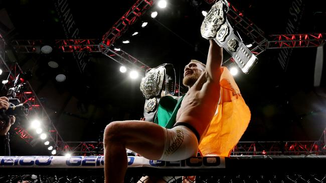 Conor McGregor of Ireland celebrates his KO victory over Eddie Alvarez.
