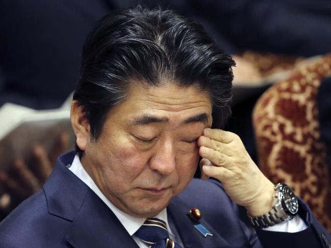 Condolences ... Japanese Prime Minister Shinzo Abe condemned the murder of the Jordanian pilot, two Japanese hostages were also recently murdered by ISIS. Picture: AP/Koji Sasahara