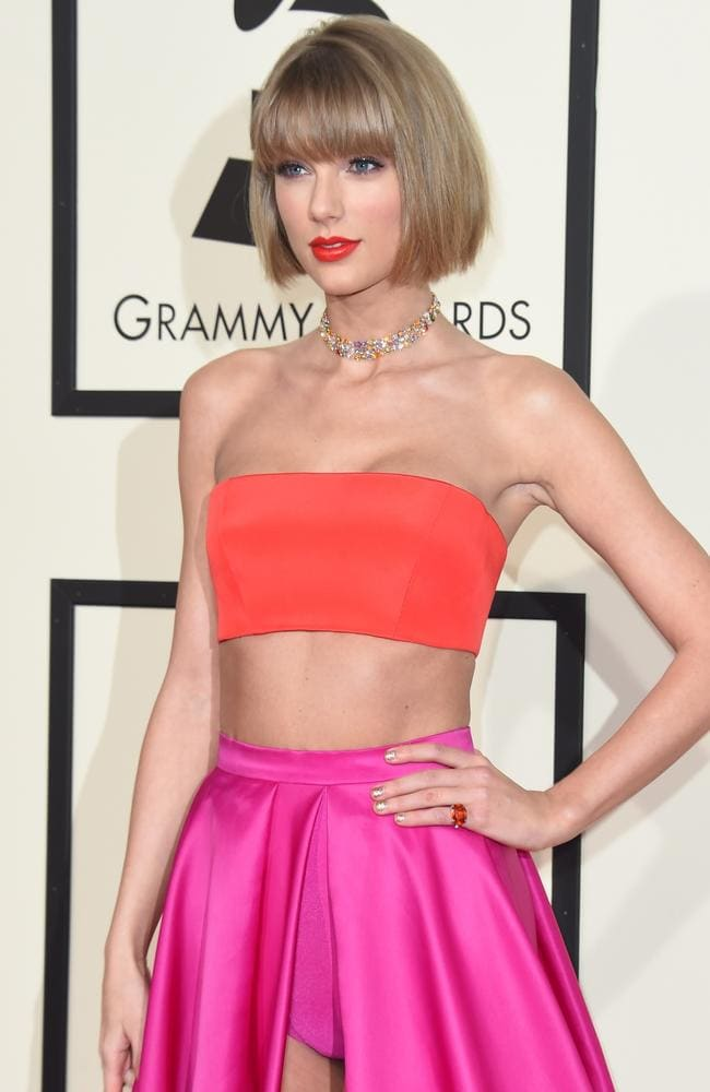Pants please: Taylor Swift in colour-blocked Versace 2 pieces, (undies included) on the red carpet during the Grammy Awards Picture: Valerie Macon