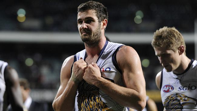 Jack Darling leaves the field after the Eagles' loss to North Melbourne. Picture: Daniel Wilkins