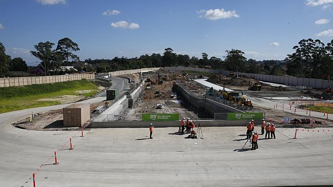 The future Cherrybrook station on Castle Hill Road. Picture: Bradley Hunter
