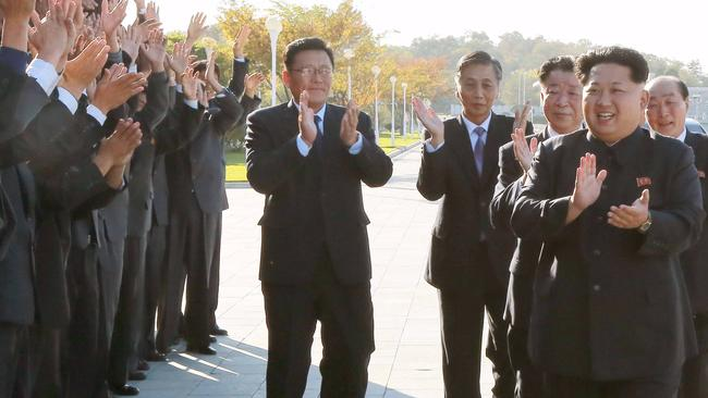 North Korean leader Kim Jong-un clapping awkwardly. Picture: Reuters/KCNA
