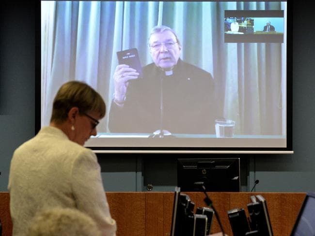 Cardinal George Pell giving testimony during a video link from Rome at the Royal Commission into Institutional Responses to Child Sexual Abuse hearing. Picture: AAP/Jeremy Piper