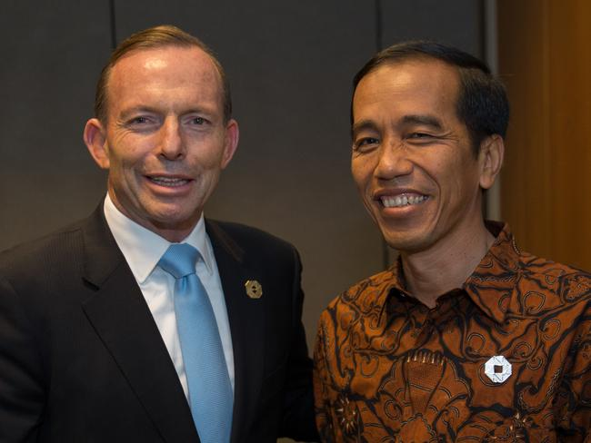 Key meetings ... Prime Minister Tony Abbott and Indonesia's President Joko Widodo met over dinner last night. Picture: Andrew Taylor/G20 Australia via Getty Images