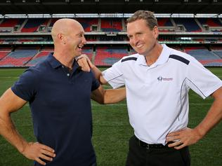 Adam MacDougall and Mark Hughes at Hunter Stadium