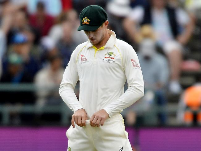 Cameron Bancroft adjusts the waistband of his trousers. (Photo by Ashley Vlotman/Gallo Images/Getty Images)