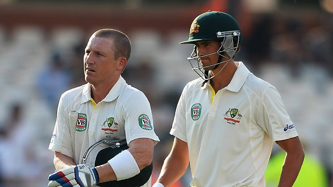 Brad Haddin (L) and Ashton Agar of Australia walk off at the end of play during day four. Picture: Laurence Griffiths/Getty Images