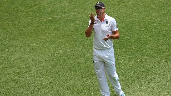 Kevin Pietersen blows a kiss to the Gabba crowd during the first Ashes Test.