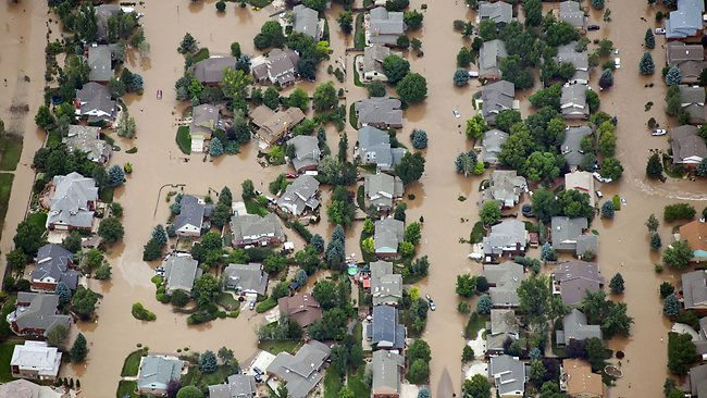 Homes in residential neighborhood in Longmont, Colorado, are submerged as flooding continues to devastate the Front Range and thousands are forced to evacuate.