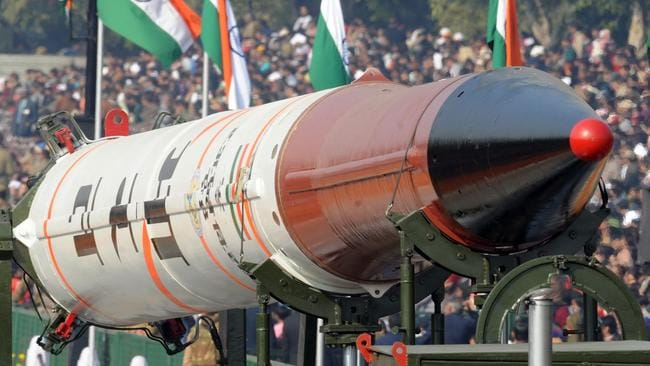 An Indian Agni-IV missile which is capable of delivering a one-tonne nuclear warhead anywhere in China. Picture AFP PHOTO / FILES / RAVEENDRAN