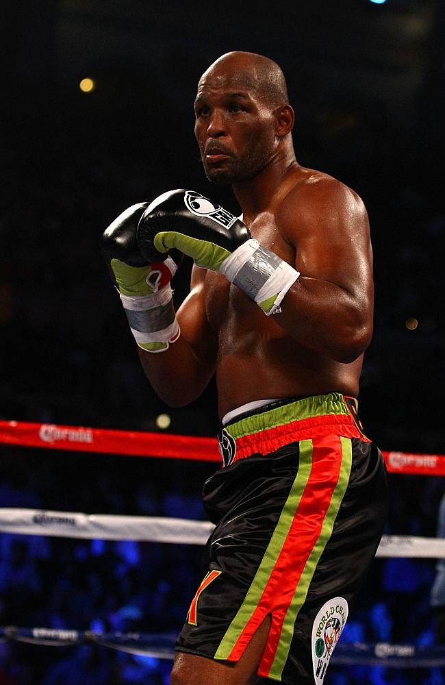 Bernard Hopkins squares up to fight against Chad Dawson during their WBC & Ring Magazine Light Heavyweight Title fight in 2012.