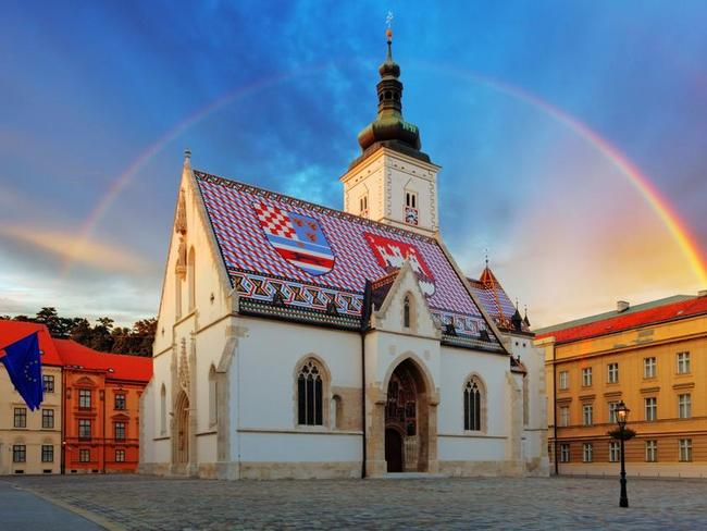 Historic churches and local squares of Zagreb.